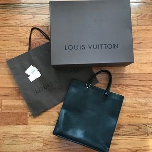 LOUIS VUITTON LV Vintage Sac Plat Epi Noir Tote